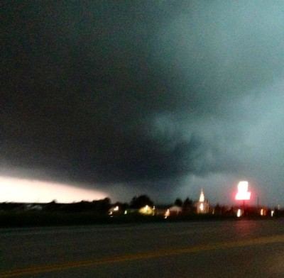 This is a friend of a friend's cell phone pic of the tornado that touched down near Harvester Rd. -  just several miles from where we were.